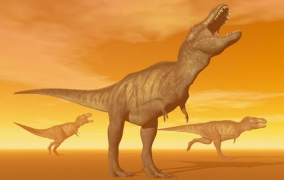 口を大きく開けるティラノサウルス