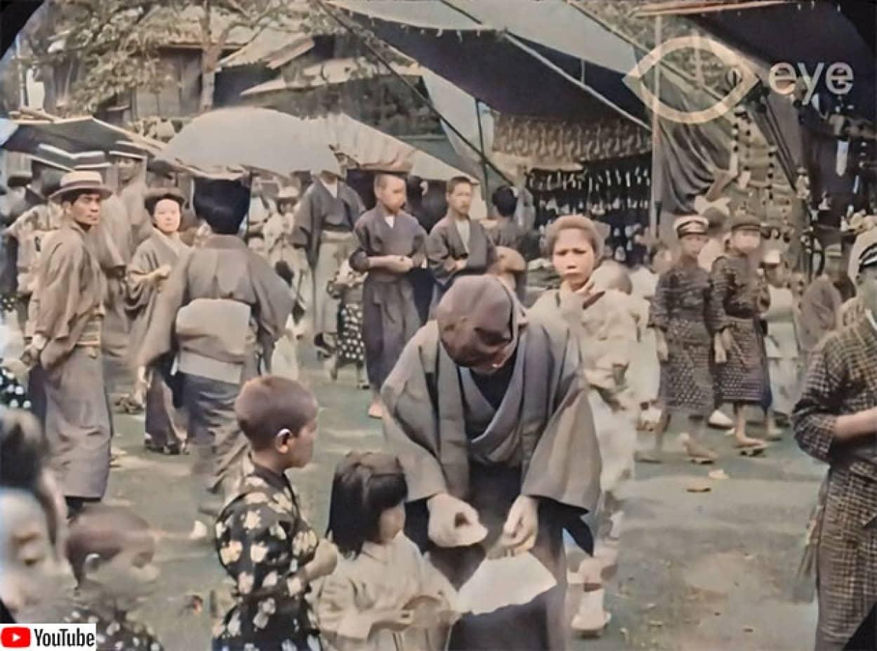 大正時代の東京の人々の高画質リマスター映像