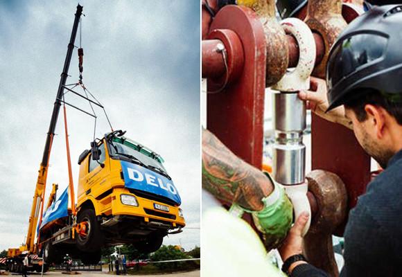 接着剤ギネス記録。直径7センチの接着面でつなげたシリンダーで17.5トンのトラックを1時間吊り上げ(ドイツ)