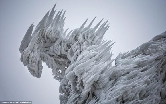 マヒャドなのか?ブリザラなのか?どんな呪文を使ったのかはわからないが強力な魔法であることは確かなようだ。ディナル・アルプス山脈の完全凍結写真