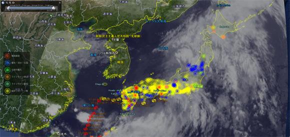台風今どこ?日本上空の台風の現在位置が地図上で直ぐにわかるグーグルアースを利用したインタラクティブマップ「台風リアルタイム・ウォッチャー」