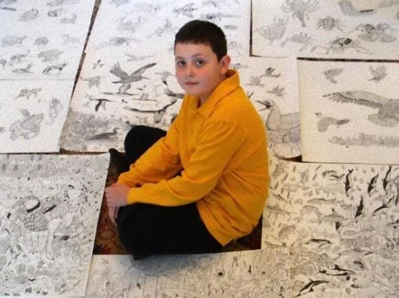 黒いペンだけで野生動物を繊細に表現、圧倒的才能に恵まれた11歳の少年の描く線画世界(セルビア)