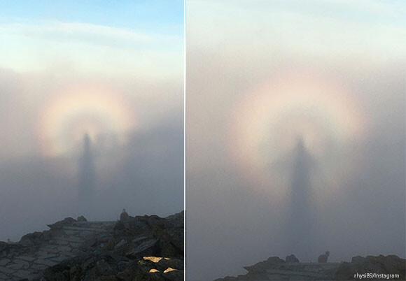 円形の虹をまとった神が降臨?新年の初日の出でとらえられた自然の神秘「ブロッケン現象」(イギリス)