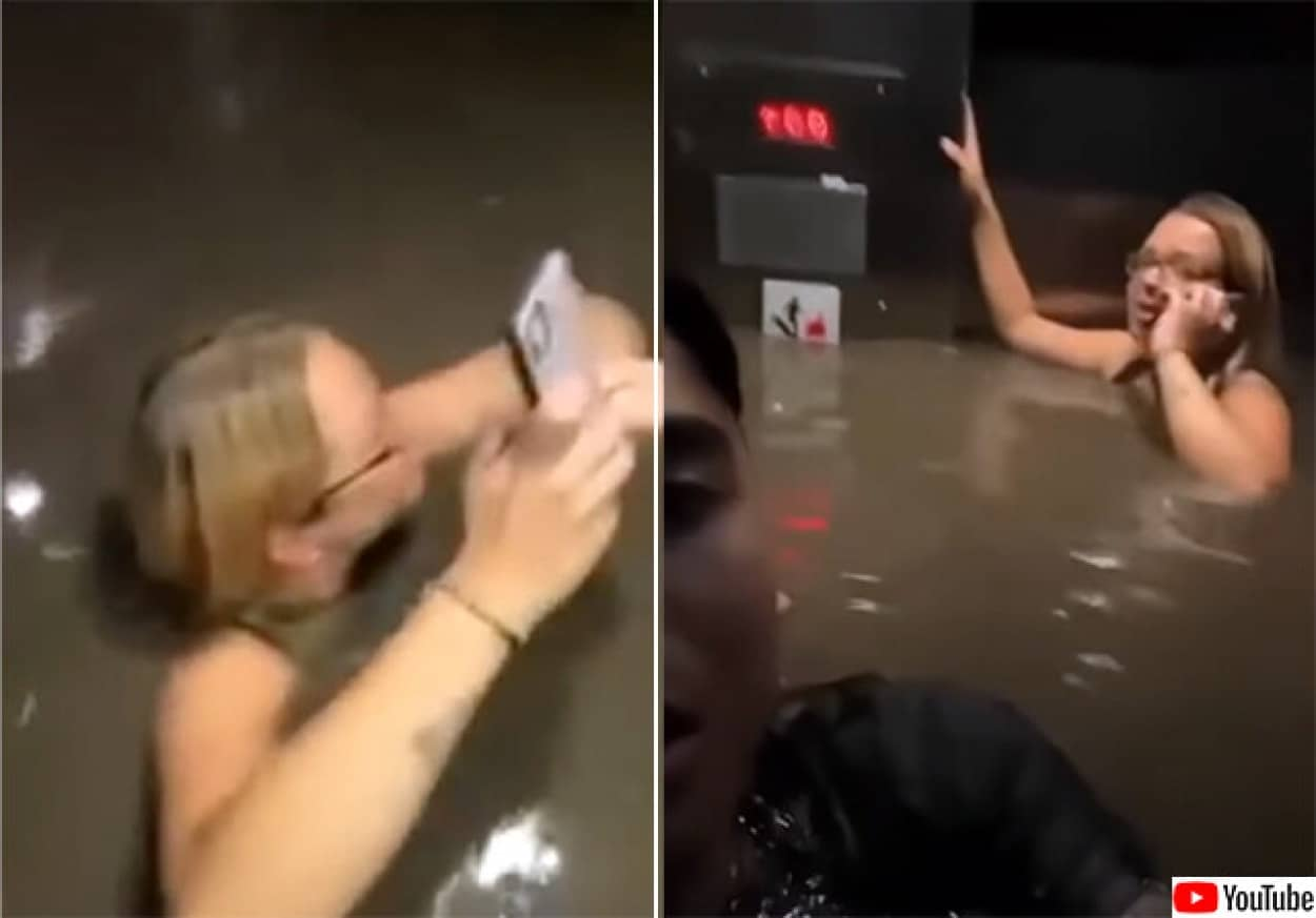 鉄砲水でエレベーターが水浸し、乗客の胸の高さまで浸水