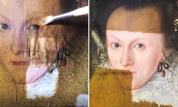 200年間の封印を解く。保護用のニスを溶かしたところ1618年に描かれた女性の肖像画が鮮明に現れる