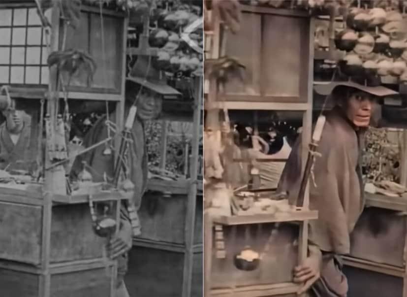 大正時代の東京で暮らす人々の映像をカラー化