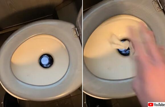 トイレの排水口を覗くとそこは線路だった。フランスの列車のトイレ構造がわかる動画