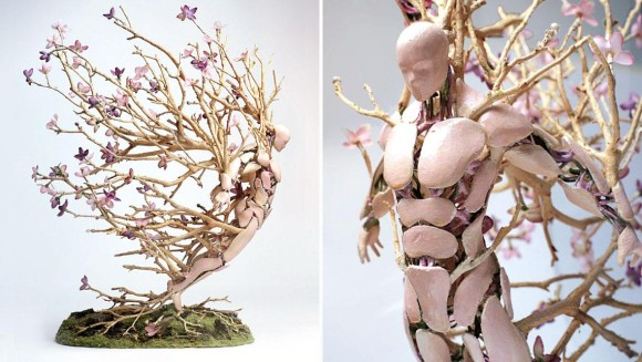 人間冬虫夏草かよ!フィギュアから四季折々の草花を生やすアート作品