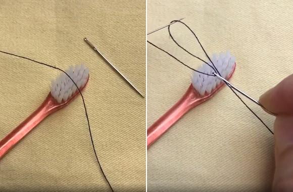 なるほどそうきたか!歯ブラシを使って針に糸を通す方法【ライフハック】