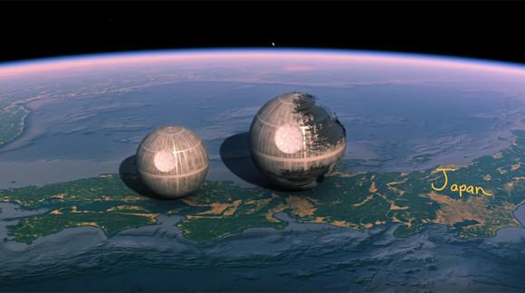 デススターってこんなに小さかったの!?スターウォーズの世界を地球上の現実世界に持ち込んでみた面白比較映像