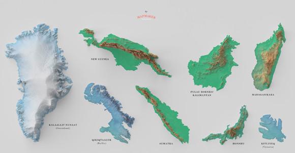 7位は日本の本州、北海道とアイルランドはほぼ同じ。世界の島を大きさ順に並べてみた。