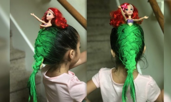 一体感と立体感がすごい!少女の斬新なヘアスタイル「マーメード巻き」(アメリカ)