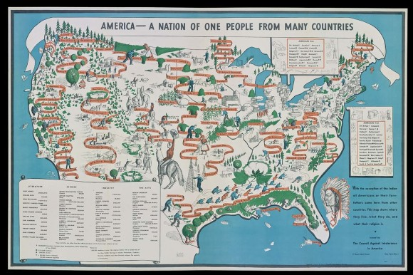 アメリカは移民の国。1940年に描かれた、移民国家アメリカの地図