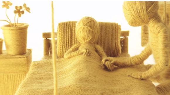 「命はどこかで誰かと繋がっている」。生と死の世界を1色の毛糸で表現したストップモーションフィルム「Moving On」