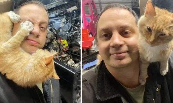 ガレージに迷い込んだ人懐こい猫に心奪われた男性。飼い主の元に帰したものの、猫恋しくて保護猫を迎え入れる