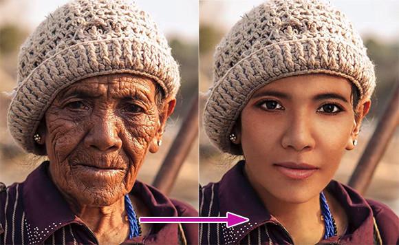 直ぐに半世紀以上前に若返りたい?簡単ですよ、フォトショップならね。老人の写真を見事に若返らせたフォトショ外科医