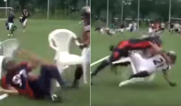 アメリカンフットボールの選手たちによる椅子取りゲームがタイアタックルすぎてすごい!