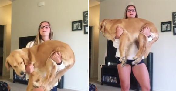 流行ってるらしい、犬を抱きかかえながらのエクササイズ「ワン・デ・スクワット」