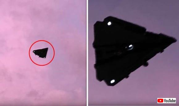 噂のTR-3Bなのか?アメリカの軍事基地の上空で目撃された三角形の飛行物体