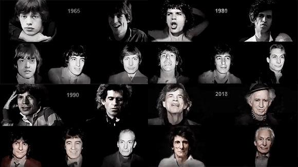 良い歳を取り方をしていらっしゃる。ローリング・ストーンズのメンバーの顔の変化をモーフィング映像で(1962-2018)