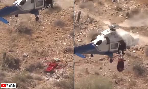 負傷したハイカーを上空から救助していたヘリコプターにハプニング。ハイカーが宙吊り状態でクルクル回転(アメリカ)