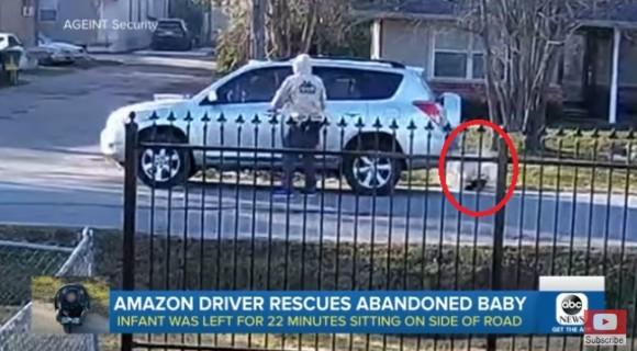 Amazonの配達員が捨てられていた赤ちゃんを救う