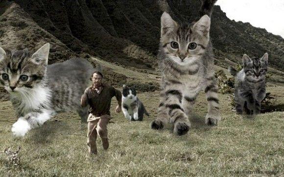 もしもジュラシックパークの恐竜が猫だったら・・・コラ職人ががんばった結果、あらやだ和む。