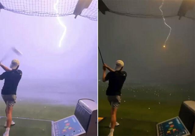 ゴルフ練習場で打ったボールに雷が落ちるという奇跡の瞬間