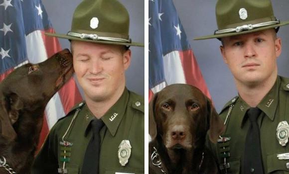 好きすぎて止まらない!撮影中でも相棒の警察官にキスすることをやめなかった犬(アメリカ)