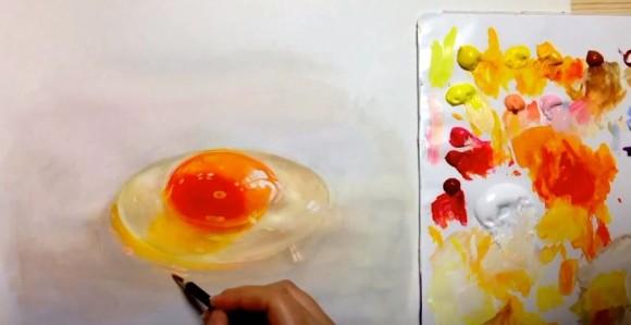 え、ちょっと待って本物と見分けつかんわ!生卵のぷるぷる感まで見事に再現するスーパーリアリティ絵画がスゴイ!