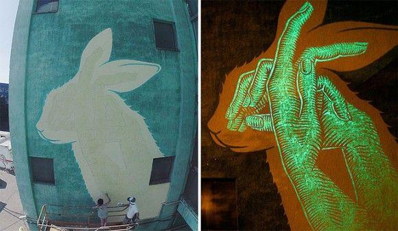 真夜中は別の顔。夜光塗料で浮かび上がる秘密の絵があるグラフィティーアート(スペイン)