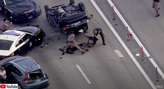 少年窃盗グループの車がパトカーとカーチェイス後自爆して捕まるまでの映像