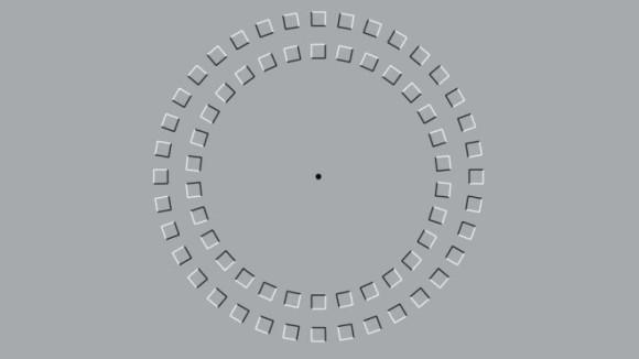 脳は錯視の動きを処理するためフリーズし5ミリ秒の遅れを経験する