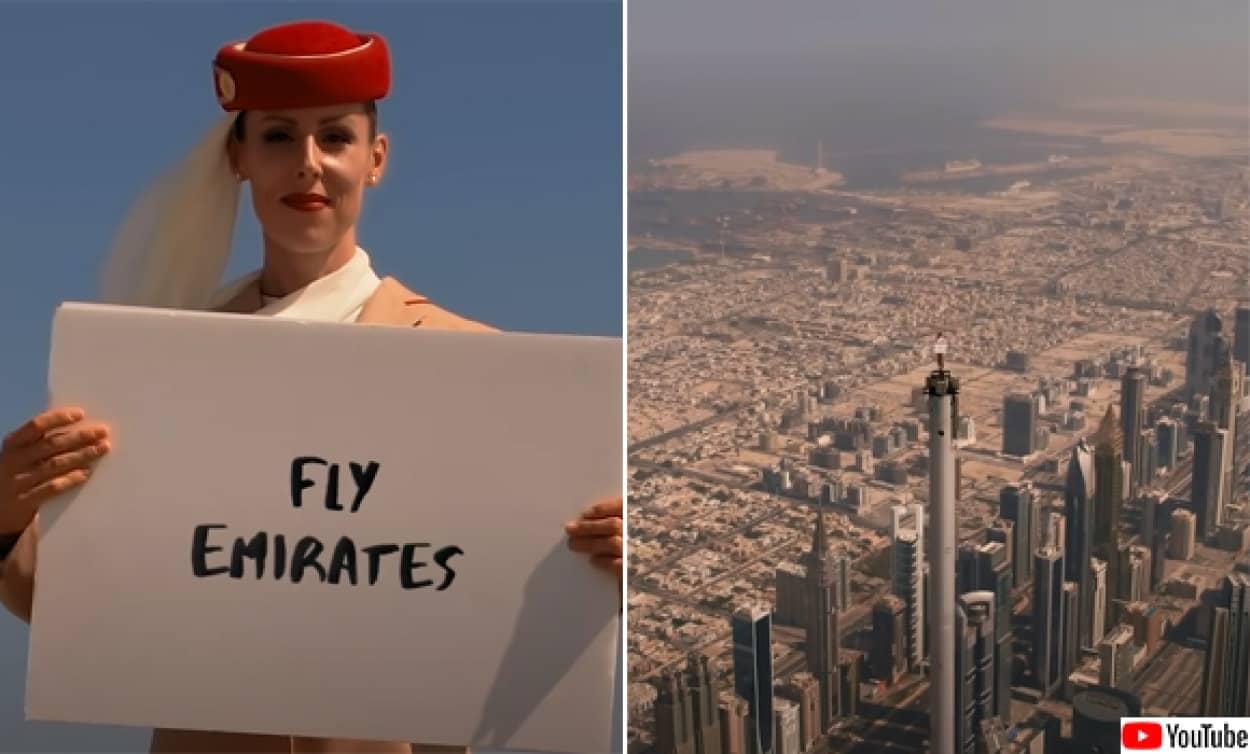 世界一高い高層ビル「ブルジュ・ハリファ」の頂上に立つ客室乗務員