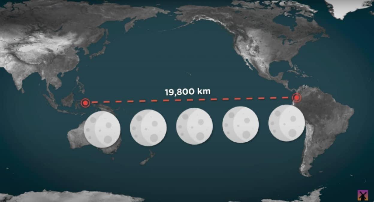 月が5個余裕で入る!太平洋の広さを実感できる動画