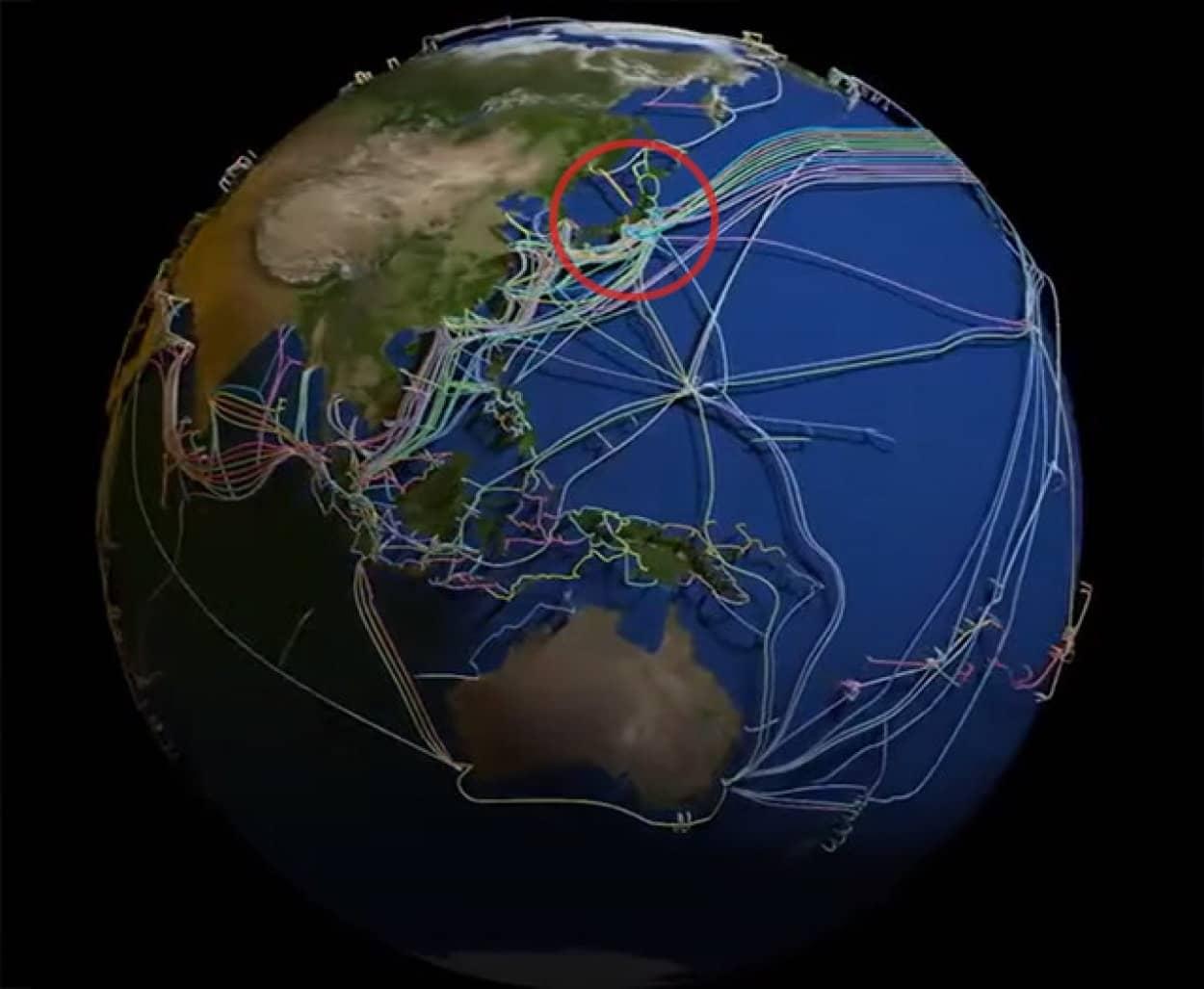 海底ケーブルを視覚可した3Dマップ