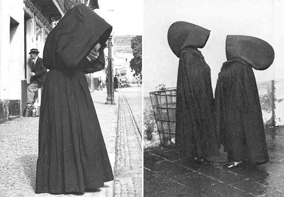 謎めいた巨大なフードにロングケープ。1930年代まで着用されていたアゾレス諸島の女性用伝統衣装「アゾレアンフード」