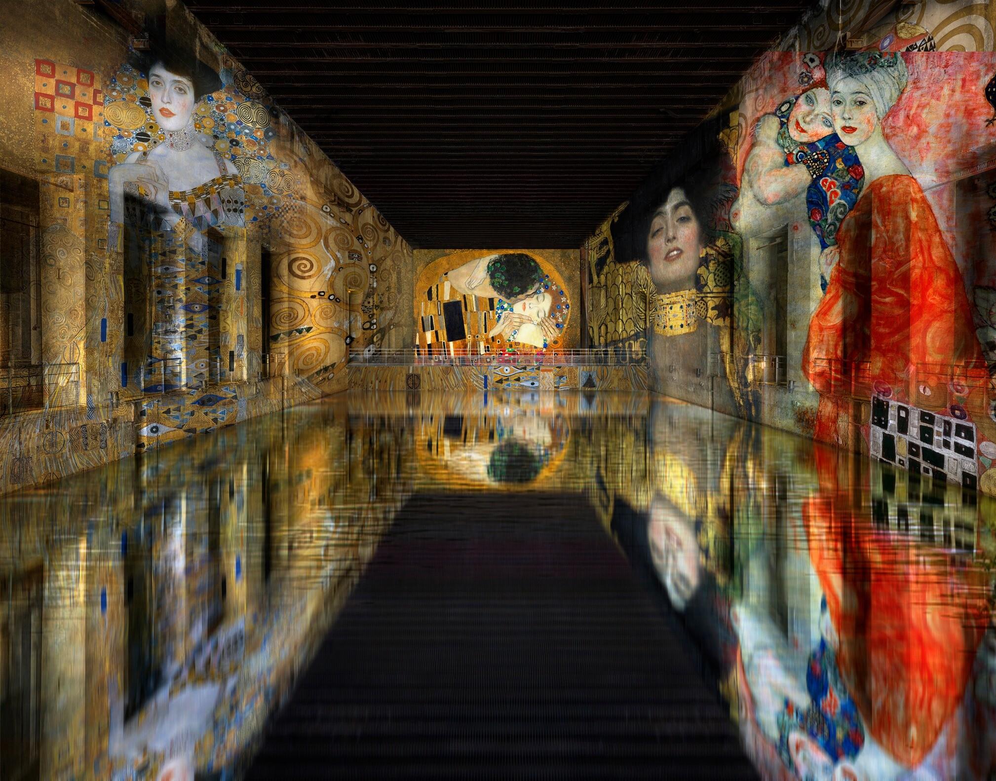 水面を照らすクリムト。第二次世界大戦時の巨大潜水艦基地を世界最大のデジタルアート空間に(フランス)