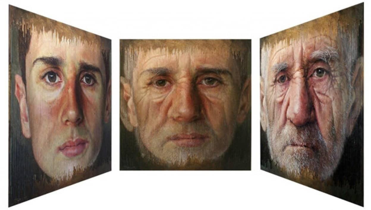 見る角度で顔が変わる不思議なポートレート