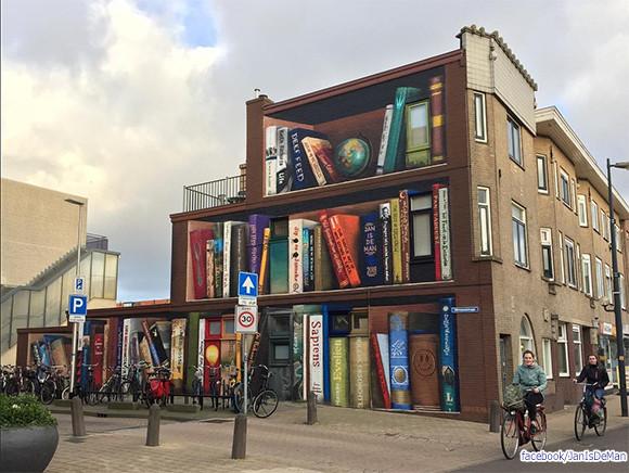 居住者のお気に入りの本を壁面描き巨大図書館のように仕上げた建物(オランダ)
