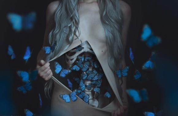 私の体の中の青い蝶々。「うつからの解放」をイメージしたフォトコラージュ作品