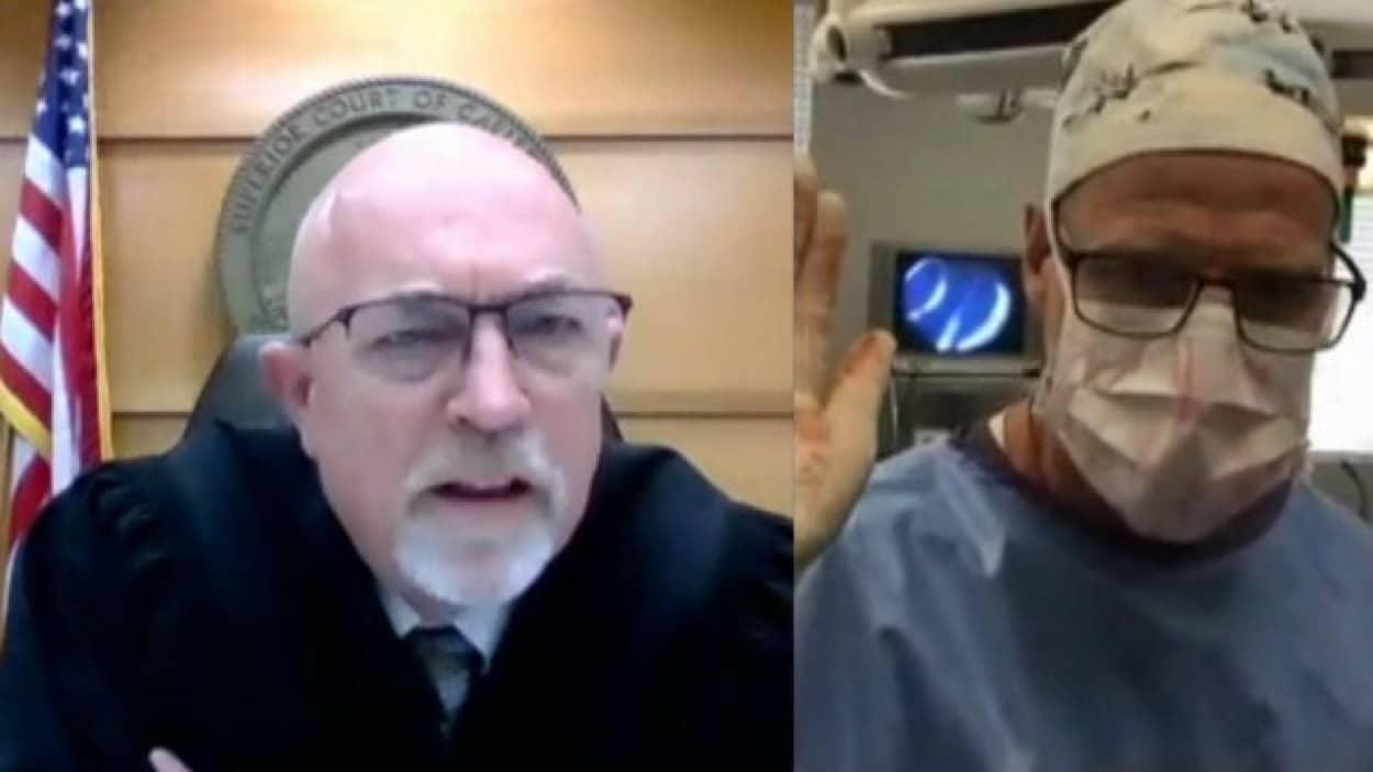 手術中にオンライン裁判に出廷した外科医