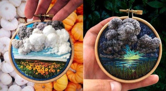 刺繍なのに飛び出す絵本みたい! 空を立体的にふわっとさせた美しく斬新な刺繍デザインアート
