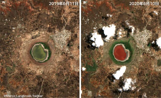 隕石が衝突してできた湖、一夜にして赤く染まるという怪現象が発生(インド)