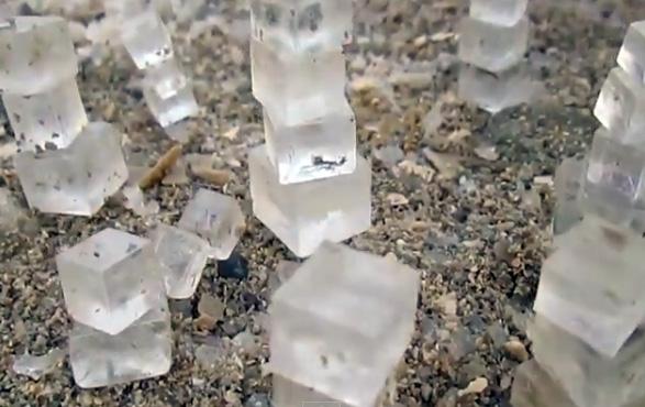 しおしおしい。ぱっきりキューブ状の塩の結晶がゴロゴロ落ちてる死海の浜辺