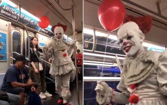恐怖しかない。映画「IT」のピエロ、ペニーワイズがニューヨークの地下鉄に乗っていた件