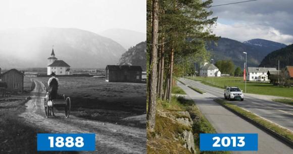 あの時に撮影されたあの場所の今を同じ構図で撮影。視覚で変化を認識できる「昔」と「今」の比較写真