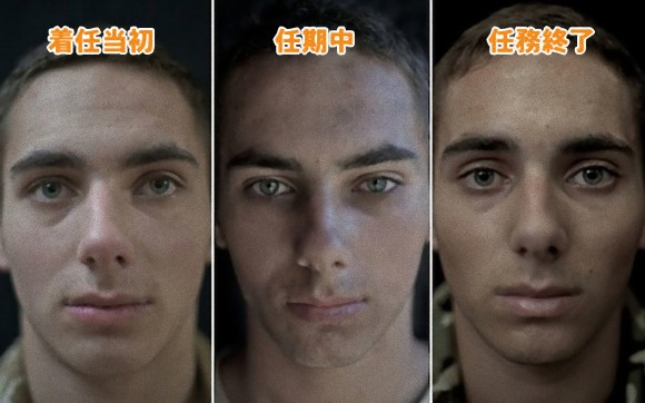激しい戦闘地域に派遣された兵士の表情の変化がわかる比較写真