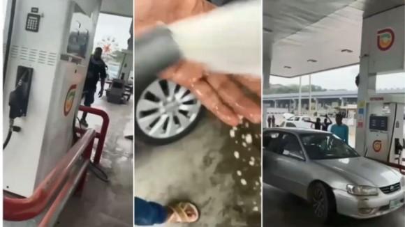 ガソリンの代わりに水を入れていたガソリンスタンド