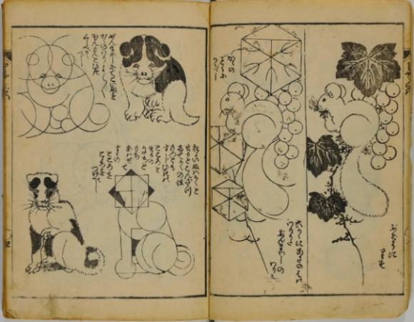 葛飾北斎から学ぶ絵の描き方。絵を描くための手引書「略画早指南」がインターネット公開。